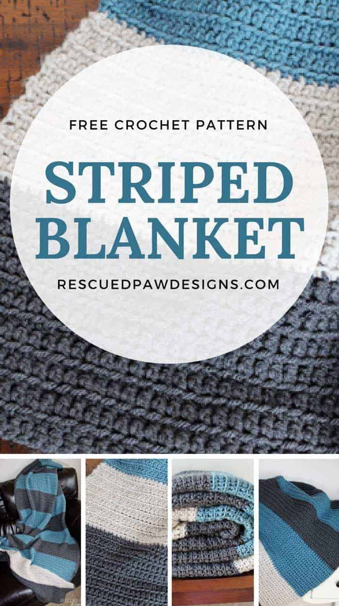 Free Crochet Striped Blanket - Make in any size! Great for a baby blanket, throw blanket or lap sized blanket! Find the free pattern at RescuedPawDesigns.com