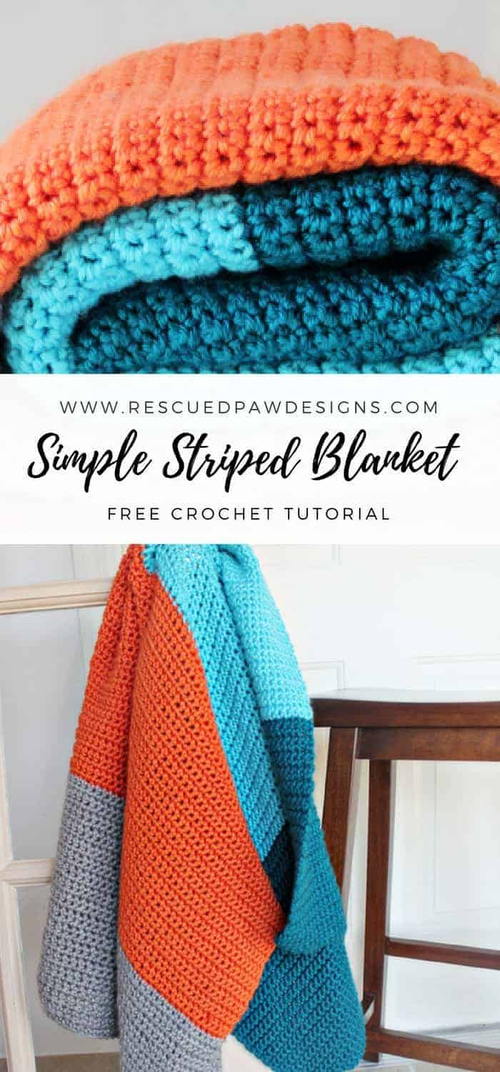 Simple Striped Crochet Blanket Pattern by Rescued Paw Designs - FREE CROCHET PATTERN! www.rescuedpawdesigns.com