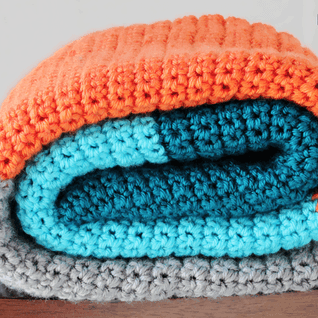 Color Blocked Crochet Blanket