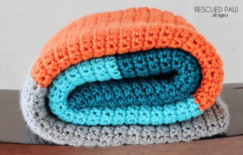 Simple Color Blocked Crochet Blanket Pattern