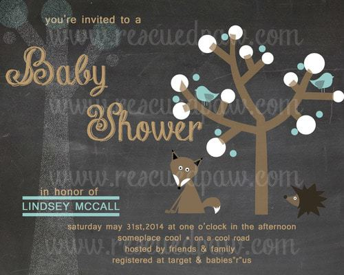 Chalkboard Style Baby Shower Invitation