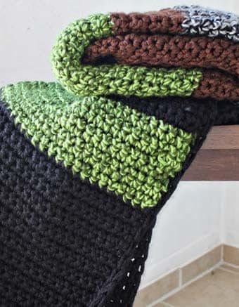 Striped Chunky Crochet Blanket