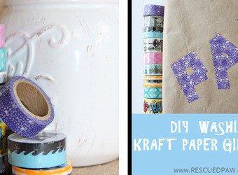 DIY Washi Kraft Paper Gift Wrap