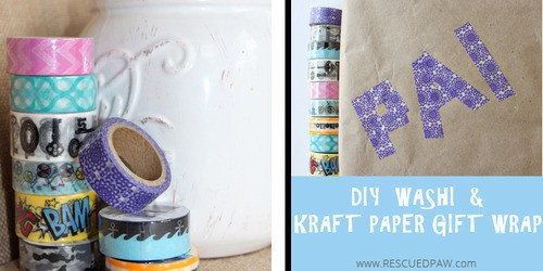 DIY Washi Kraft Paper Gift Wrap