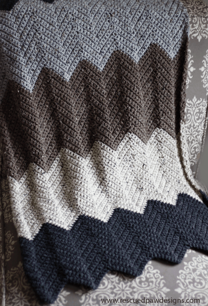 Chevron Crochet Throw Blanket Pattern by Rescued Paw Designs