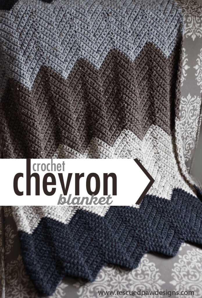 Chevron Blanket Crochet Pattern by Rescued Paw Designs - Try this simple and FREE crochet blanket pattern today! Who doesn't love FREE?