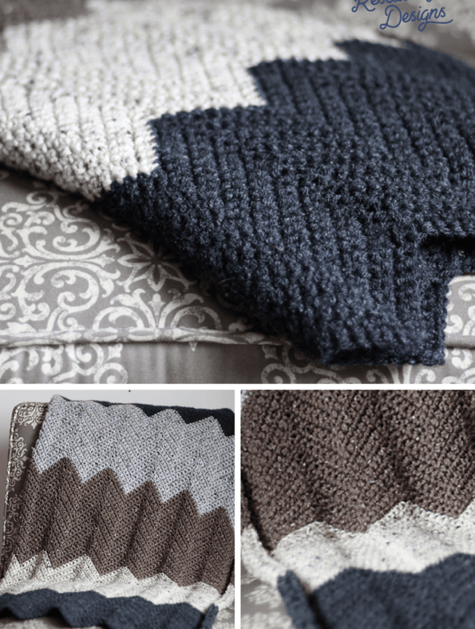 collage of a chevron crochet blanket