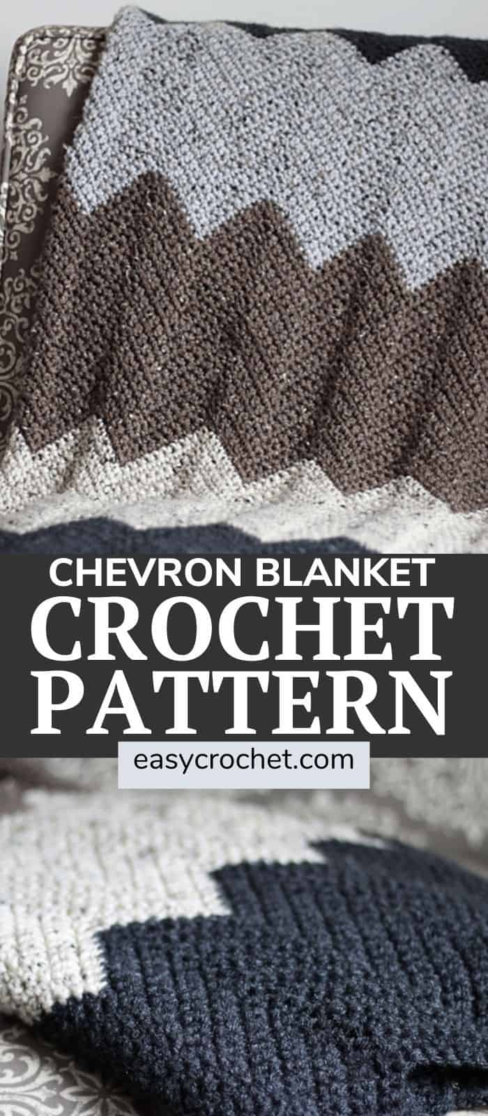 Chevron Crochet Blanket Pattern - Use this FREE crochet pattern to create your next chevron throw blanket. easycrochet.com via @easycrochetcom
