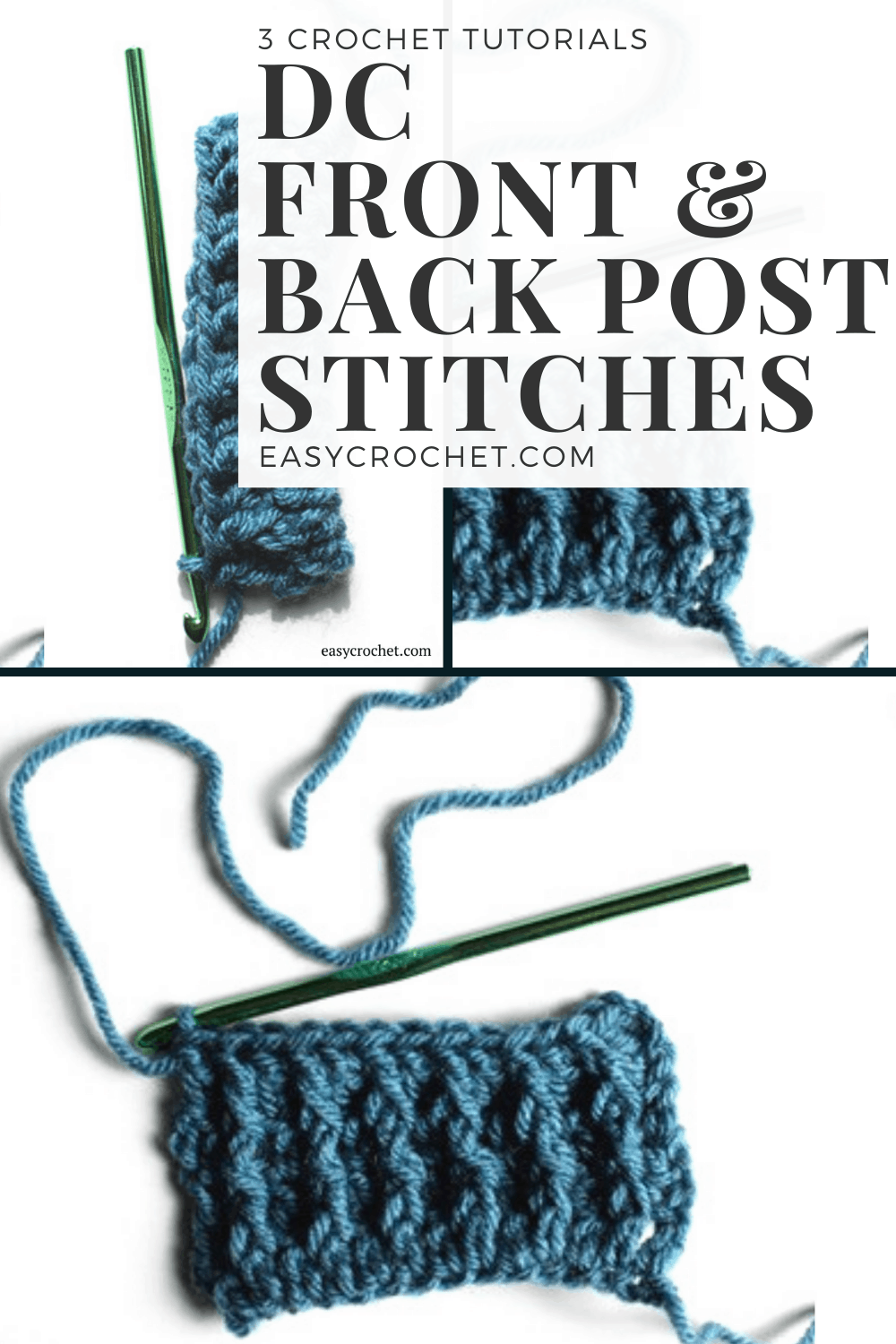 Learn about how to make double crochet front & back post stitches in crochet with this free tutorial from EasyCrochet.com via @easycrochetcom