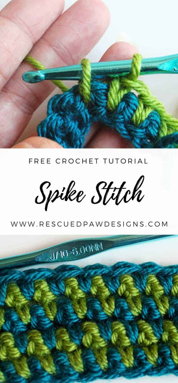 Free Crochet Tutorial for the Spike Stitch from Rescued Paw Designs. Learn this stitch and many more!