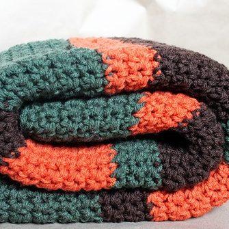 Crochet Woodland Striped Blanket