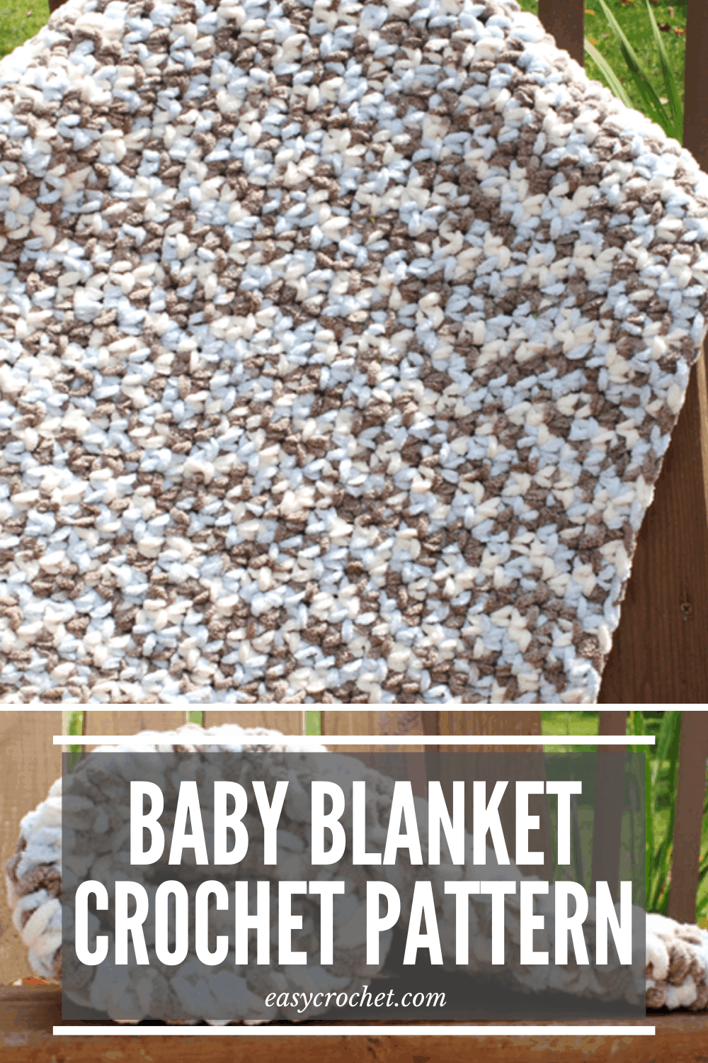Make this easy to crochet baby blanket with this free crochet pattern from Easy Crochet. Great pattern for new crocheters or beginners. via @easycrochetcom