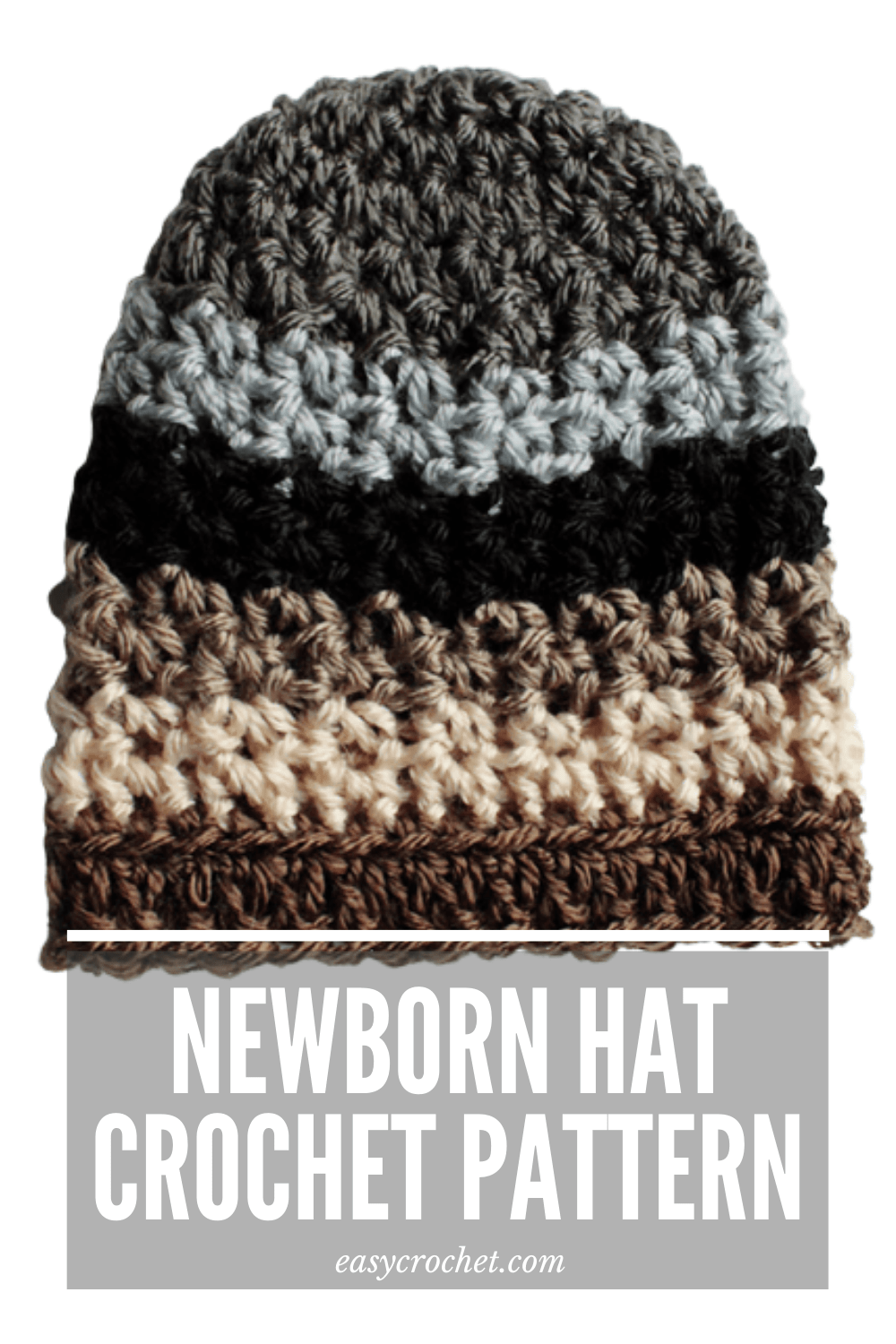 Learn to crochet this simple newborn hat crochet pattern with this free easy crochet pattern from easycrochet.com via @easycrochetcom