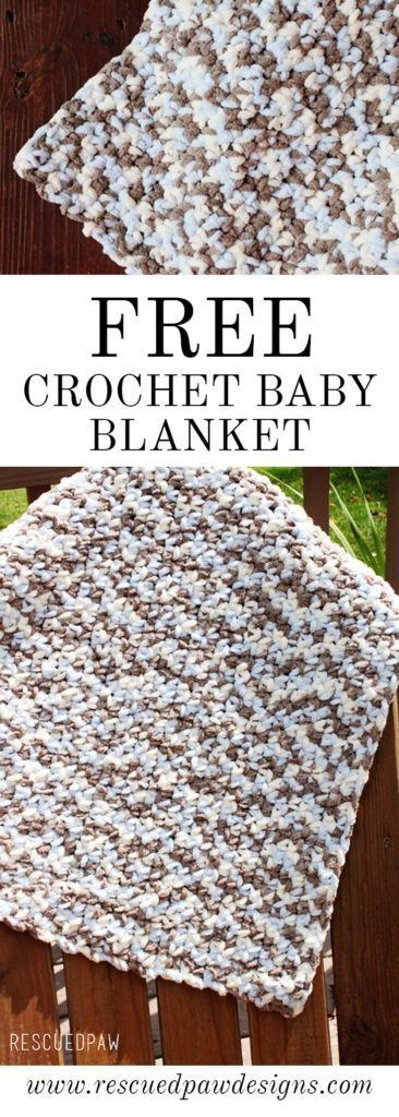 Make this Free Crochet Baby Blanket Pattern with my beginner friendly pattern! Find this and many more patterns at Rescued Paw Designs