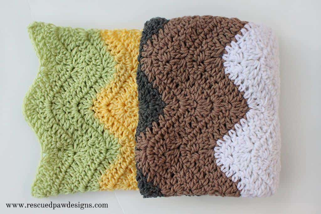 Modern Striped Ripple Baby Blanket By Rescued Paw Designs Crochet