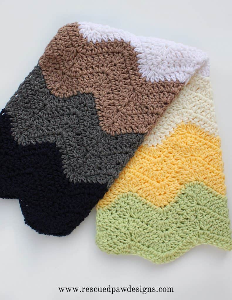 Modern Striped Ripple Baby Blanket Crochet Pattern