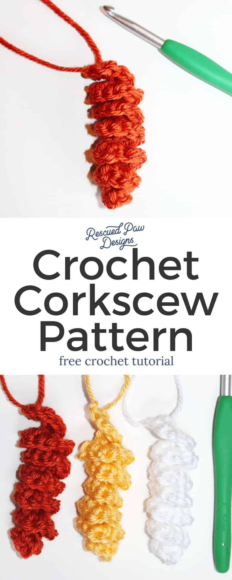 Corkscrew Crochet Pattern! This would be great as hair ties and much more!