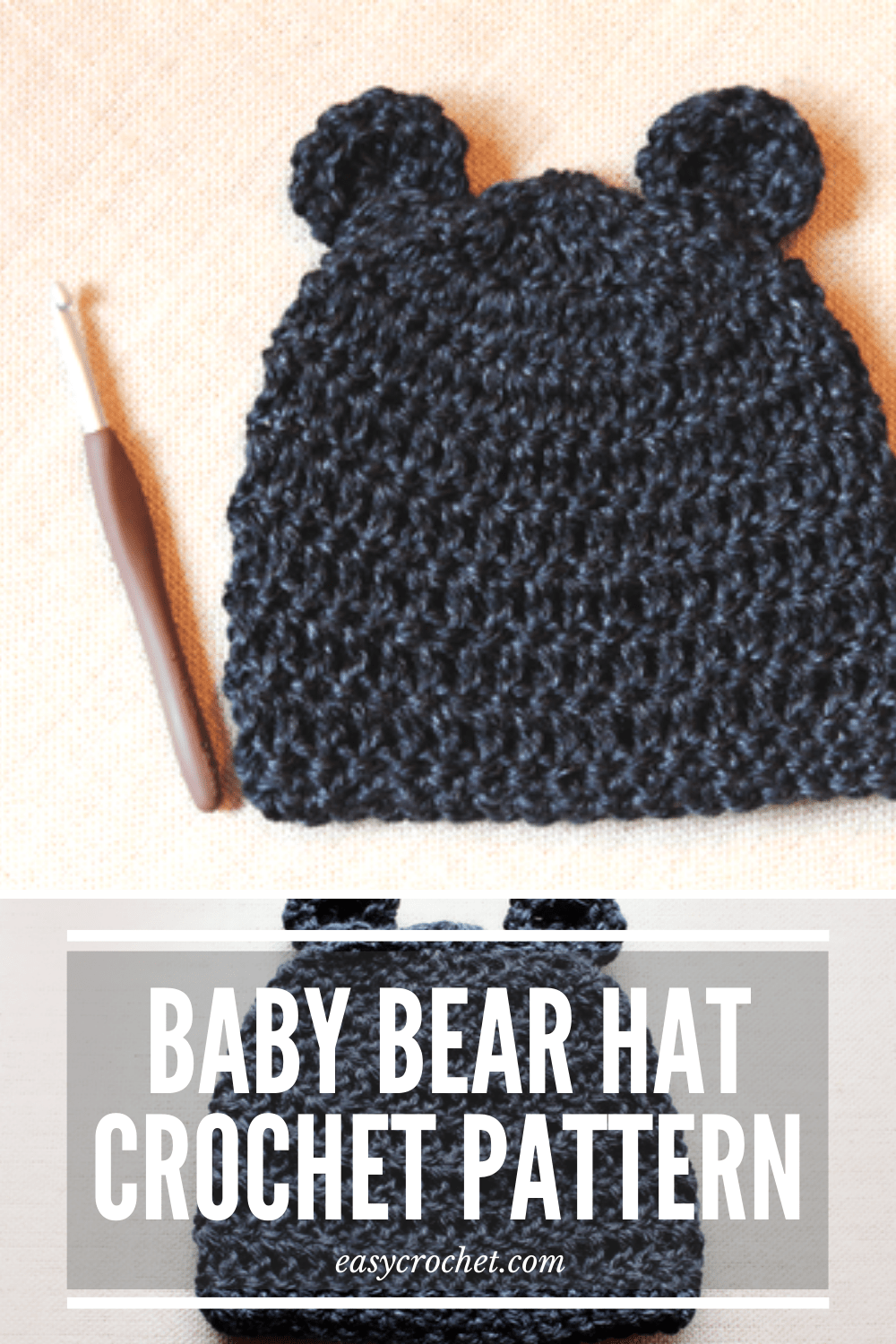 Free Baby Crochet Hat Pattern by Easy Crochet. Make this cute baby bear hat for a newborn baby! via @easycrochetcom