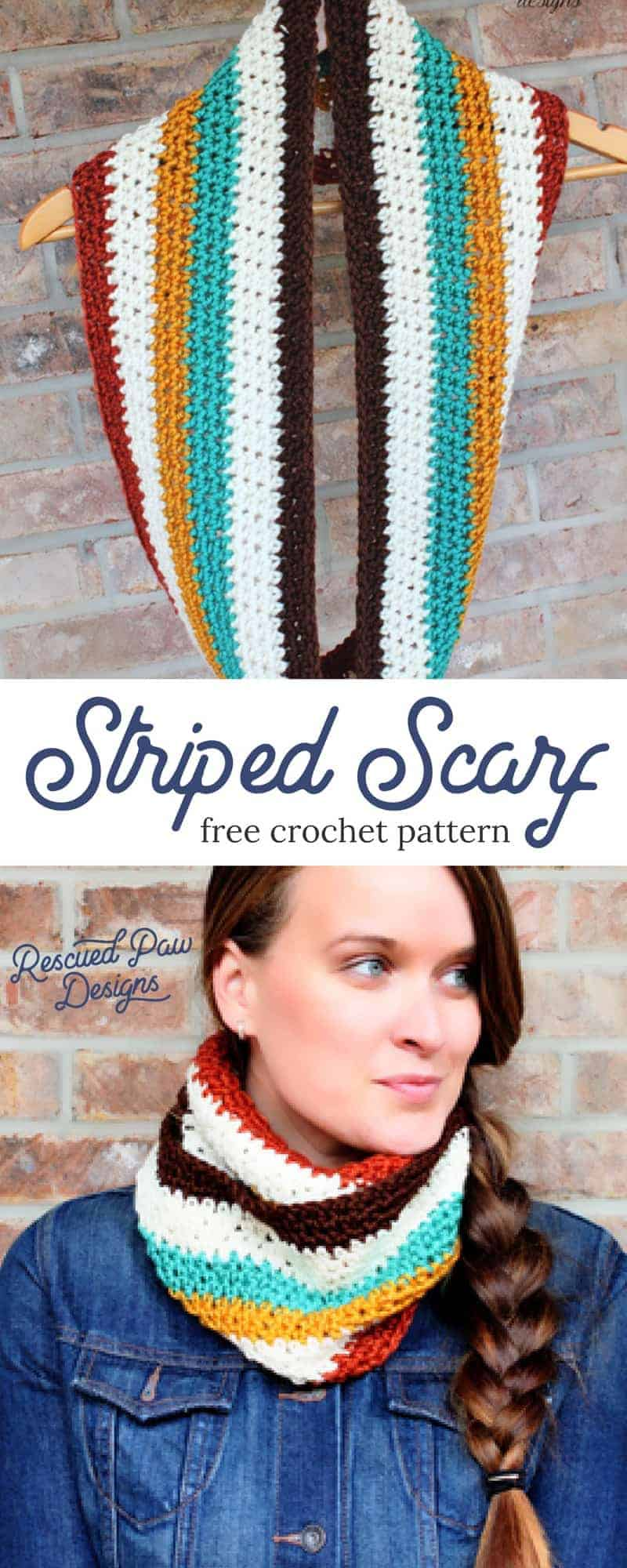How to crochet a striped scarf