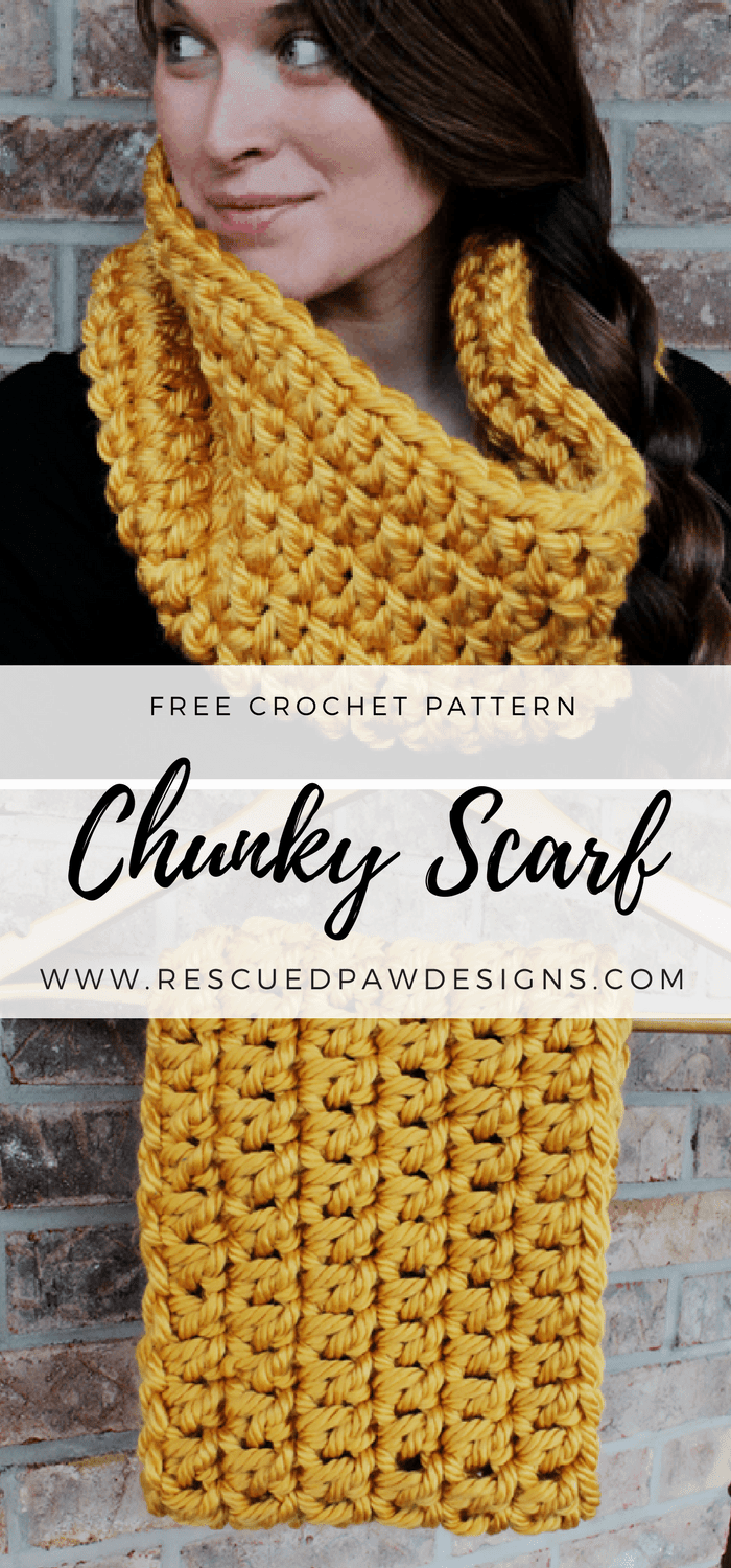 Chunky Crochet Infinity Scarf Pattern by Rescued Paw Designs - Great Beginner Friendly Chunky Cowl Pattern! This crochet chunky infinity scarf pattern with bulky yarn is so easy to whip up and will keep you warm all winter long! If you love easy crochet patterns then this one is for you.If you'd like to make your very own chunky crochet infinity scarf then read on down to find the full free crochet pattern!