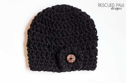 Chunky Crochet Black Button Hat Pattern