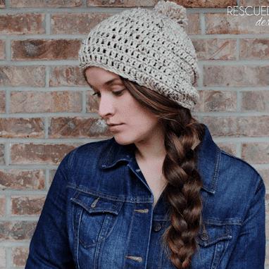 Crochet Slouchy Pom Pom Hat
