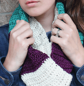 The Leigh Striped Crochet Infinity Scarf