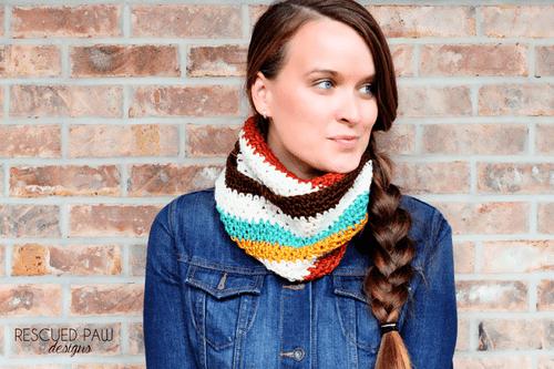 Striped Crochet Scarf / Cowl Pattern