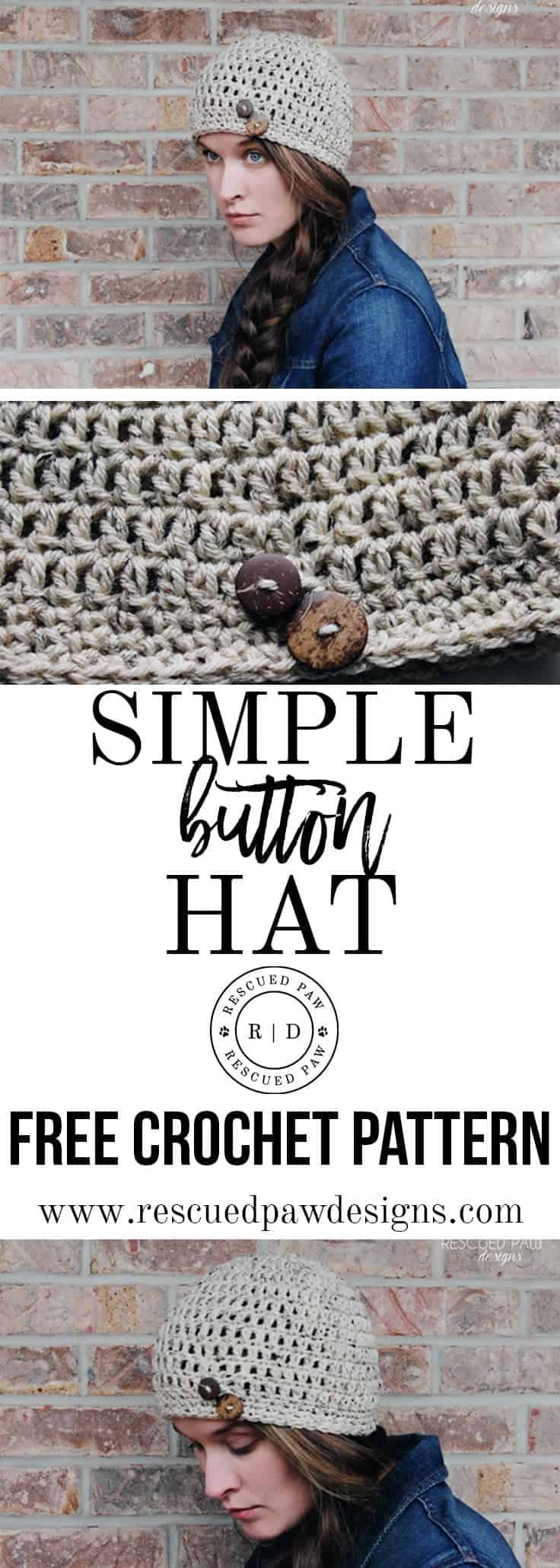 Simple Button Hat (FREE crochet pattern) from Rescued Paw Designs - www.rescuedpawdesigns.com
