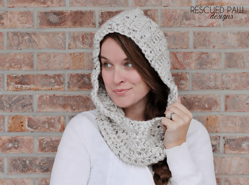 Hooded Crochet Cowl Scarf