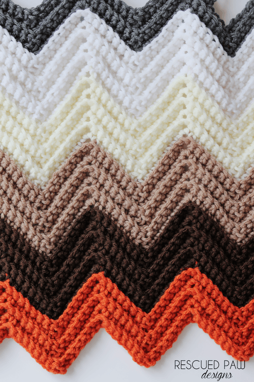 Chevron Crochet Blanket Pattern Rescued Paw Designs