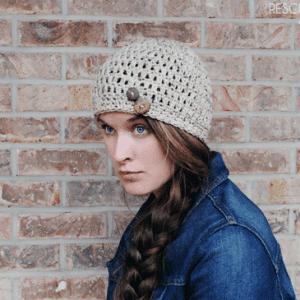 Easy Crochet Button Hat for Beginners