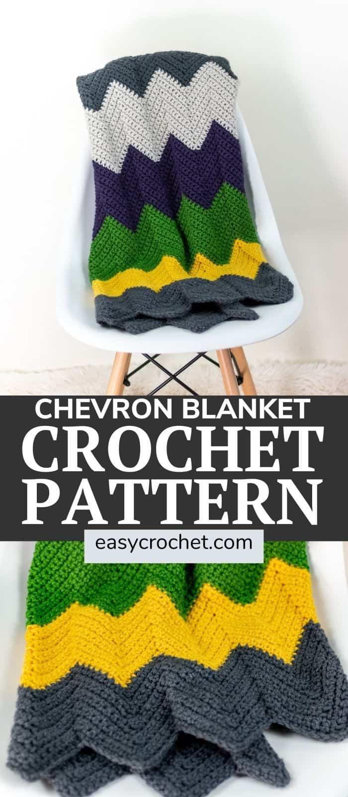 Free chevron crochet blanket pattern using bright and bold colors! Free crochet pattern from Easy Crochet via @easycrochetcom