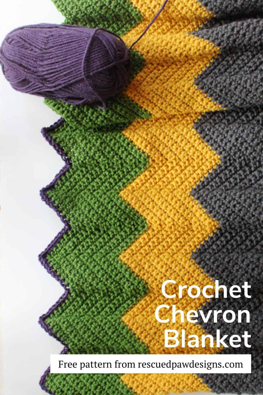 Free crochet colorful chevron blanket pattern. via @rescuedpaw