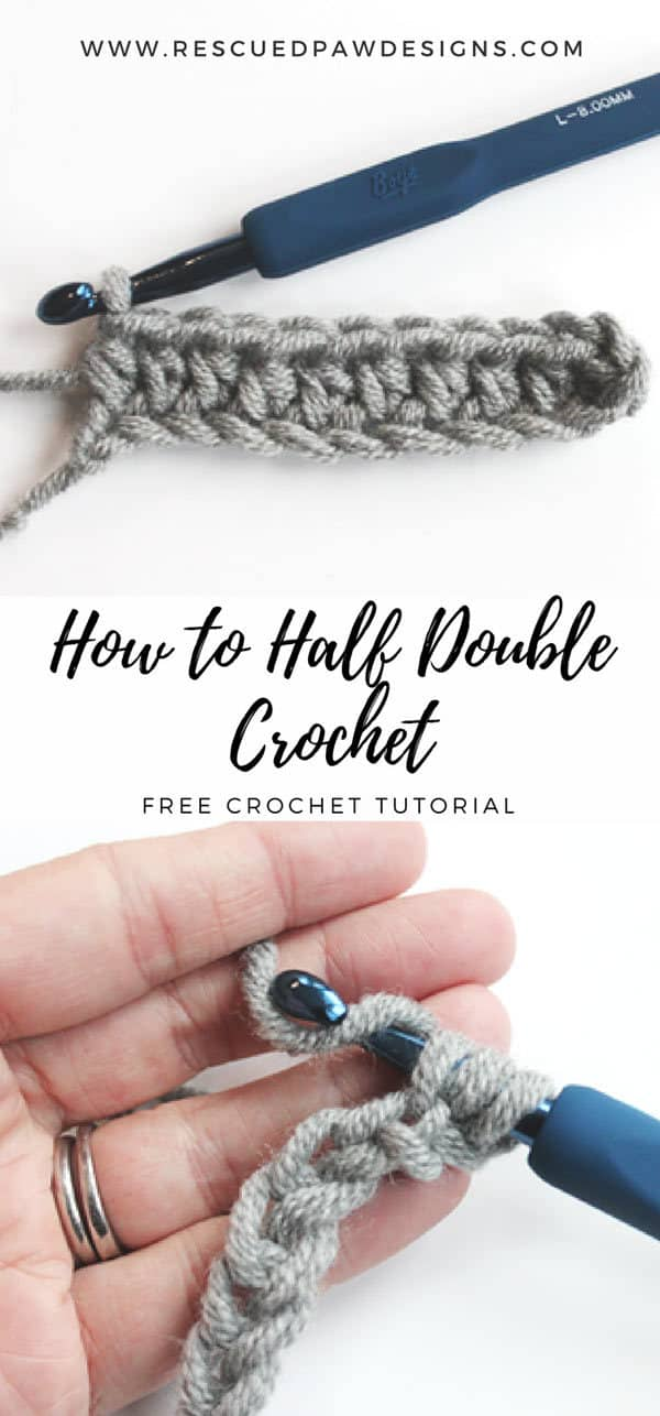 How to Half Double Crochet by Rescued Paw Designs. Learn this fun stitch today and get started on so many fun designs!