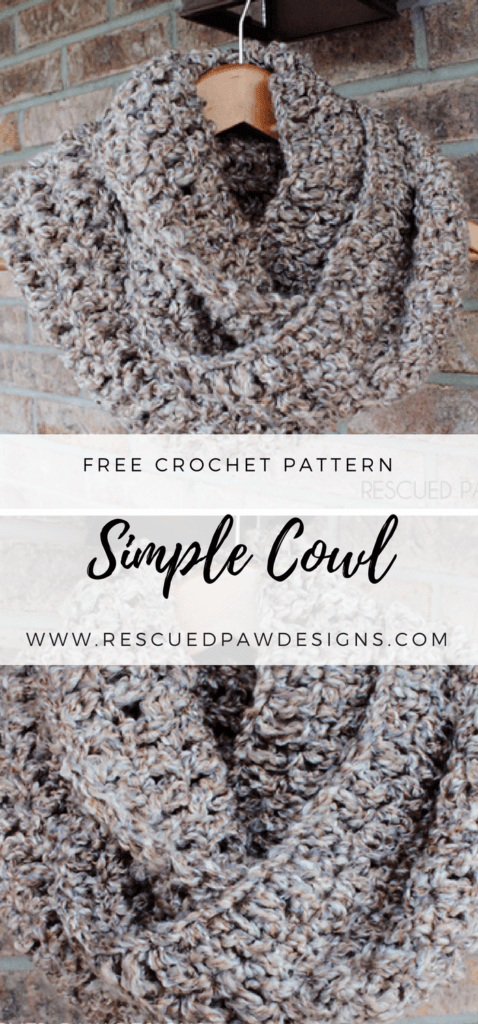 Simple Crochet Cowl Pattern - Free Crochet Pattern by Rescued Paw Designs. Click to Read or Pin and Save for Later!