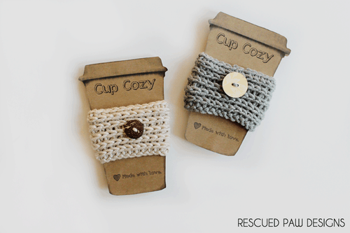 Crochet Coffee Cozy by Rescued Paw Designs www.rescuedpawdesigns.com
