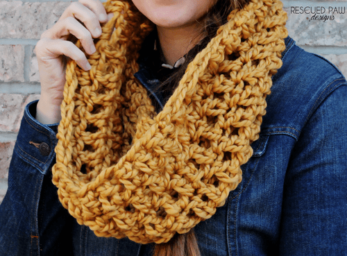 Oversized Mustard Crochet Scarf