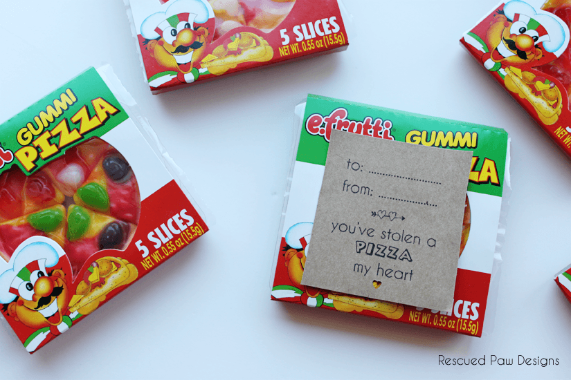 Gummi Pizza Valentine's Day Favor by Rescued Paw Designs