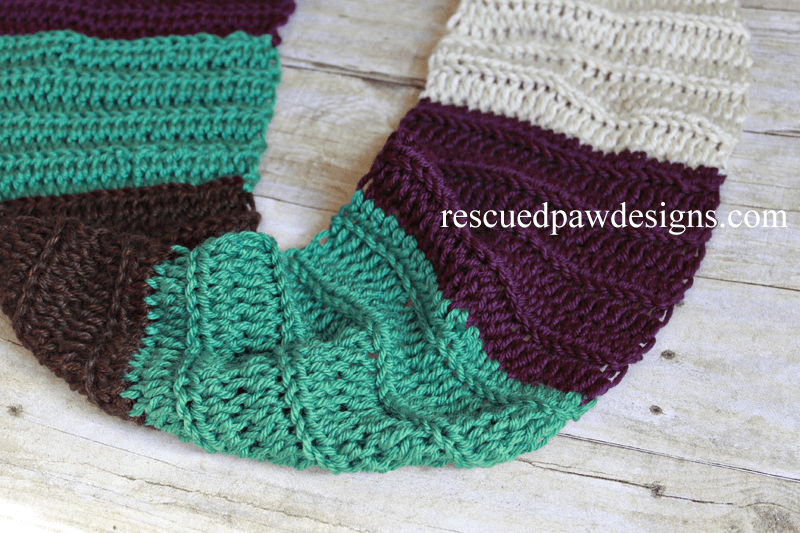 Color Blocked Infinity Scarf- Free Crochet Pattern by Rescued Paw Designs