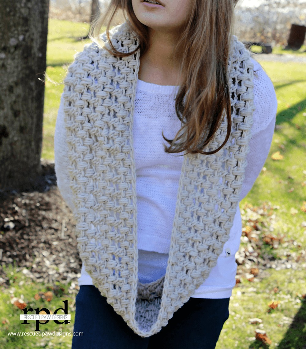 Criss Cross Puff Crochet Scarf :: Free Pattern by Rescued Paw Designs