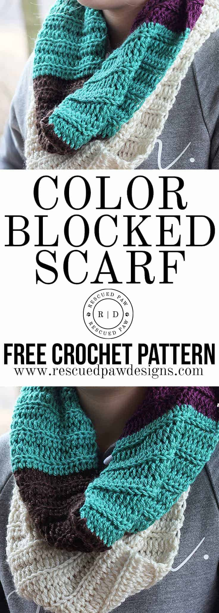 Color Blocked Infinity Scarf- Free Crochet Pattern - Crocheted Scarf