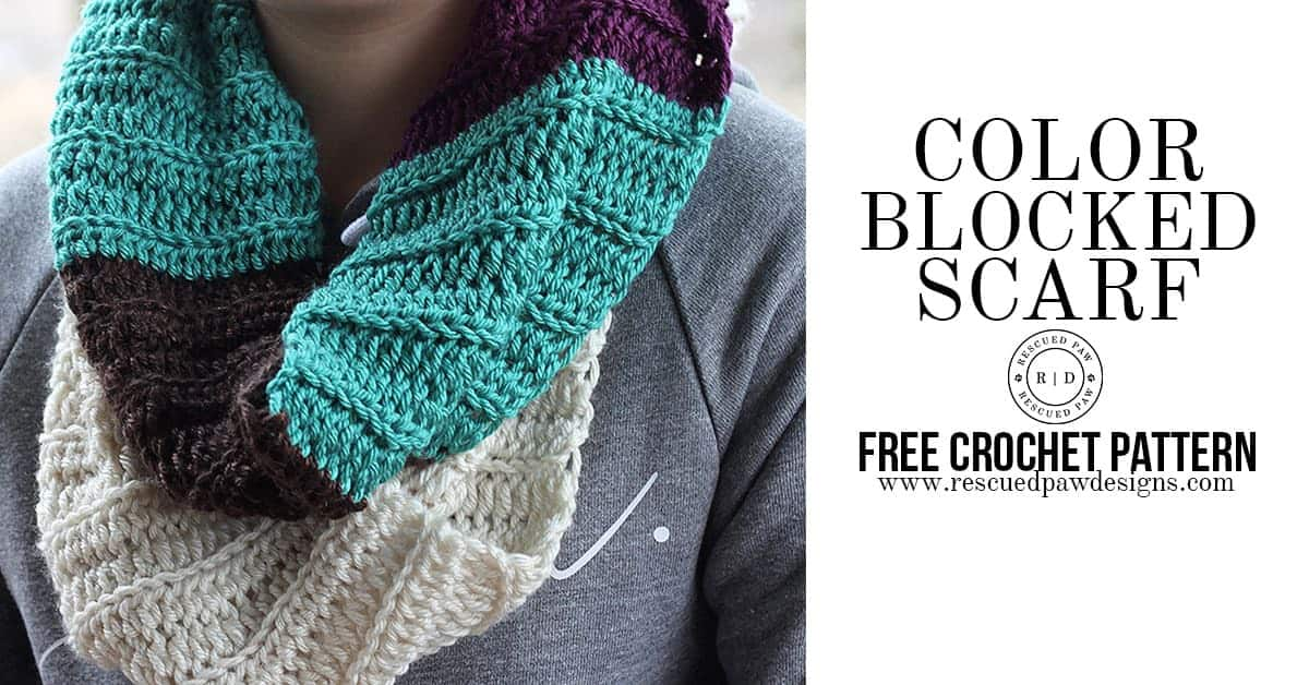 Color Blocked Infinity Scarf- Free Crochet Pattern ⋆ Rescued Paw ...