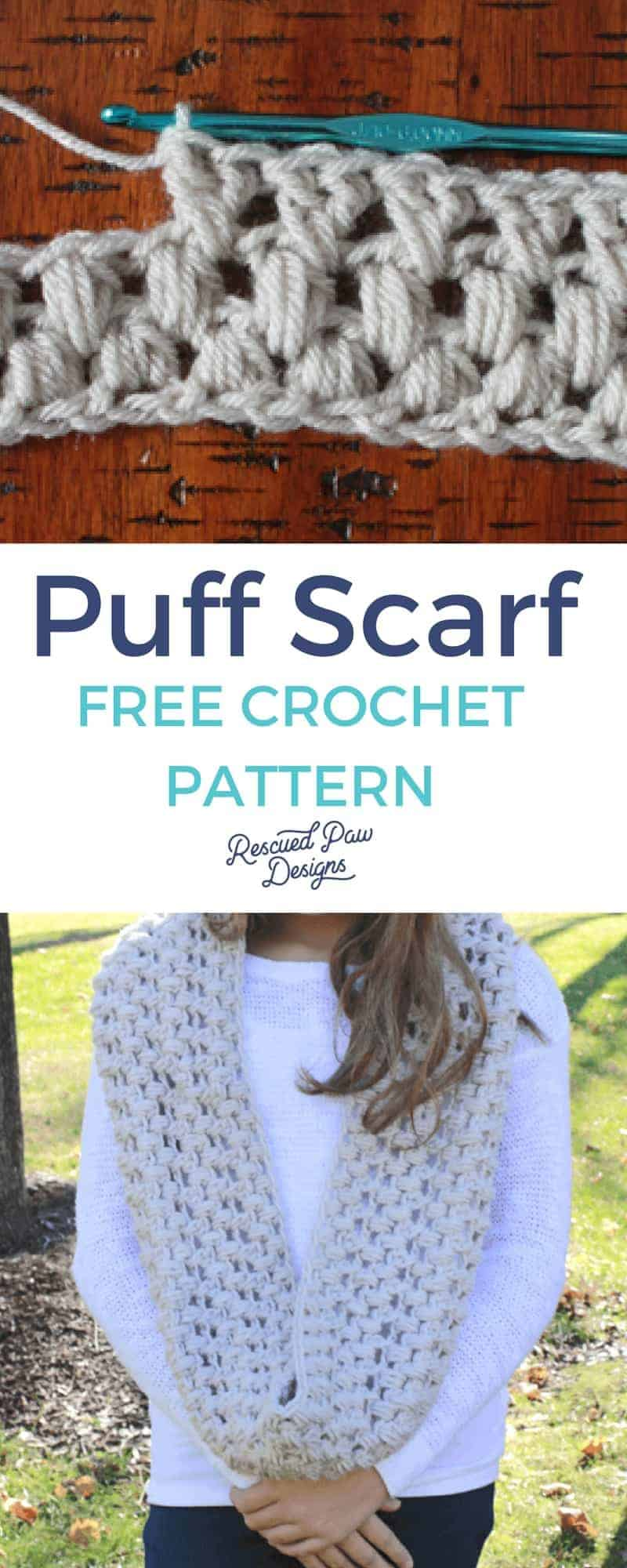 Crochet puff stitch pattern for a Scarf! Crochet this Free scarf using the puff stitch today from Rescued Paw Designs