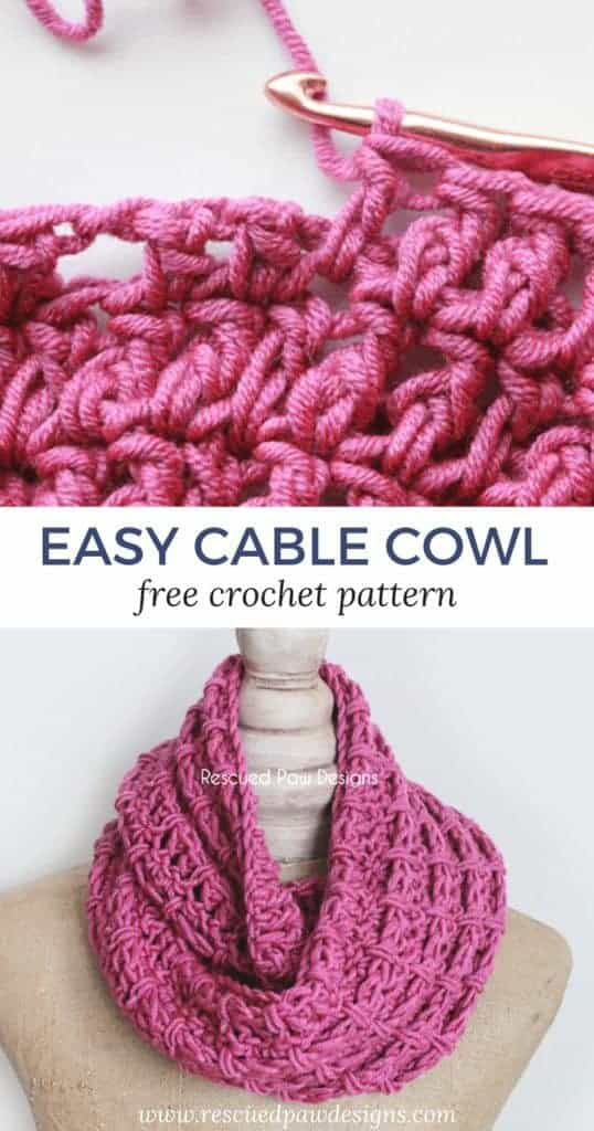 Up close and large shot of the crochet cable cowl