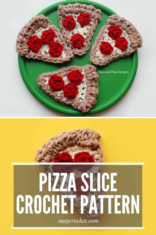 Pizza Slice Crochet Pattern - Crochet Food or Crochet Applique! via @easycrochetcom