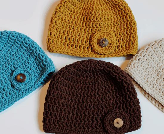 Crochet Hat Pattern – Circle Button Hat
