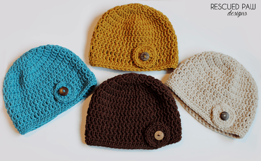 Crochet Hat Pattern - Circle Button Hat - Double Crochet Beanie Pattern