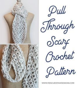 Pulled through chained crochet scarf