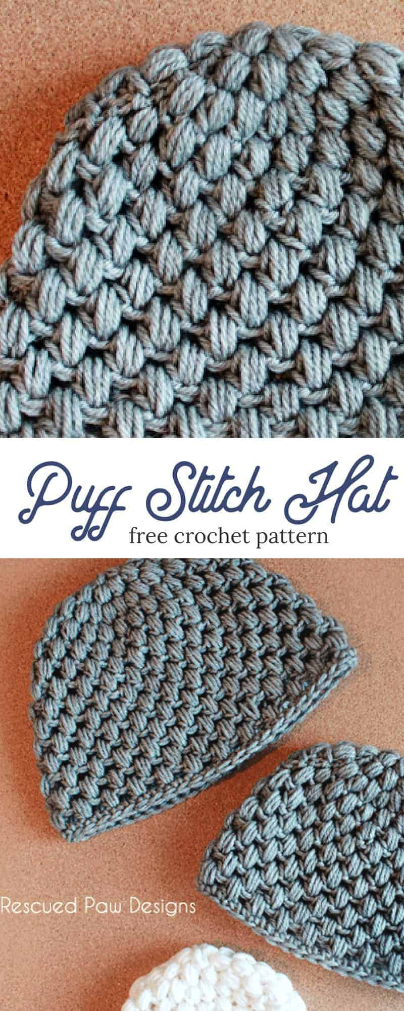 Puff Stitch Crochet Hat Pattern Free Crochet Pattern from Rescued Paw Designs Crochet - Great Crochet Hat for Beginners!